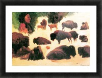 Study of Buffaloes by Bierstadt Picture Frame print