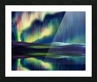 Aurora Borealis Magic Reflections Northern Lake Lights Watercolor Picture Frame print