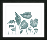 Tropical Leaves Teal Gray Botanical Foliage Watercolor  Picture Frame print