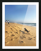 Dog and kids on the beach in Portugal Picture Frame print