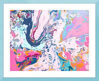 Baby Blue and Pink Paint Pour Picture Frame print