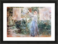 The farmer hanging laundry by Morisot Picture Frame print