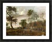 A village landscape with carriages outside an inn Picture Frame print