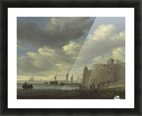 A river estuary with figures pulling in their nets by a fort Picture Frame print