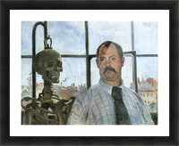 Self Portrait with Skeleton by Lovis Corinth Picture Frame print