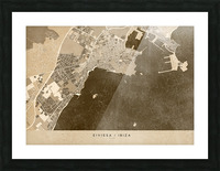 Sepia vintage map of Ibiza Spain Picture Frame print