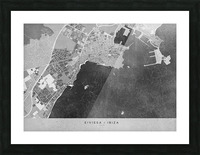 Gray vintage map of Ibiza Spain Picture Frame print