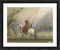 Shoshone Indians - Fording a River Picture Frame print