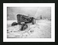 Winter Snow  Mountain Farm And Old Tractor Picture Frame print