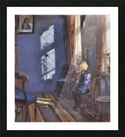Sunshine in the blue room by Anna Ancher Picture Frame print