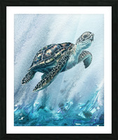 Watercolor Giant Turtle In Abstract Seaweed And Water XI Picture Frame print