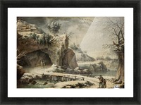 A frozen river landscape with figures Picture Frame print