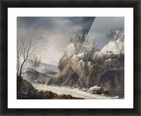 Paesaggio invernale con una famiglia di contadini Picture Frame print