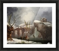 A winter landscape with travellers by a river Picture Frame print