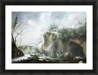 A River Landscape in Winter, With Travellers on a Snowy Path Picture Frame print
