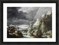 Travellers approaching a barn in a winter landscape, under a stormy sky Picture Frame print