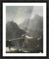 A winter landscape with travellers before a bridge, a Hilltop Town beyond Picture Frame print