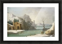 A winter landscape with travellers along a river, a Hilltop Town beyond Picture Frame print