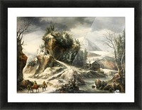 Winter landscape with a cavern and travellers Picture Frame print