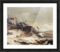 Winter landscape with village and mountains beyond Picture Frame print