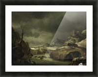 A mountainous winter landscape with a traveller arriving at a cottage Picture Frame print