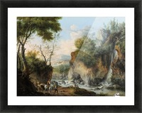 Landscape with figures along a river Picture Frame print