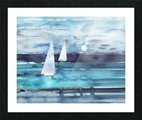 Beach House Art Sailboats At The Ocean Shore Seascape Painting XII Picture Frame print