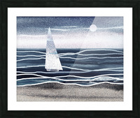 Beach House Art Sailboat At The Ocean Shore Seascape Painting XIII Picture Frame print
