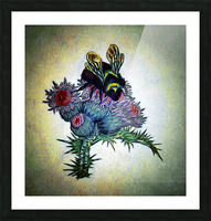 Bumble Bee On Thistle Picture Frame print