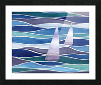 Sailboats At The Ocean Shore Seascape Painting Beach House Art Decor XIV Picture Frame print