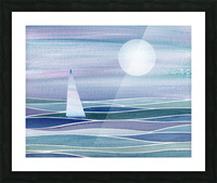 Sailboat At The Ocean Shore Seascape Painting Beach House Art Decor XV Picture Frame print