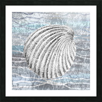 Silver Gray Seashell On Ocean Shore Waves And Rocks II Picture Frame print