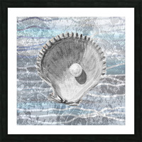 Silver Gray Seashell On Ocean Shore Waves And Rocks IV Picture Frame print