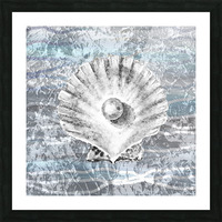 Silver Gray Seashell On Ocean Shore Waves And Rocks V Picture Frame print