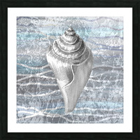 Silver Gray Seashell On Ocean Shore Waves And Rocks VII Picture Frame print