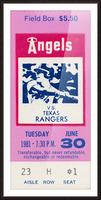 1981 California Angels vs. Texas Rangers Ticket Stub Canvas Picture Frame print