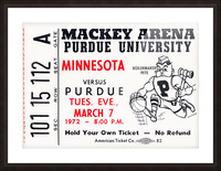 1972 Purdue Basketball Ticket Canvas Picture Frame print