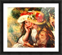 Two reading girls in a garden Picture Frame print