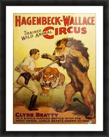 Vintage Circus Poster, Lion Tamer Poster Picture Frame print