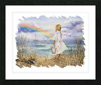 Girl Ocean Rainbow Boat And Birds Beach House Style Art Picture Frame print
