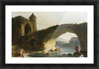 A Capriccio River Landscape With Washerwomen Near a Ruined Bridge Picture Frame print