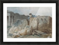 An Artist amongst the Ancient Ruins Picture Frame print
