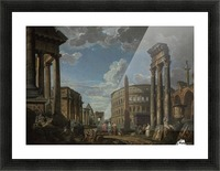 An architectural capriccio with figures among Roman ruins Picture Frame print