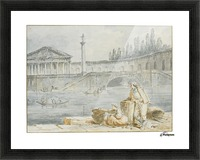 A man smoking a pipe and a woman with baskets looking out at rowing boats Picture Frame print