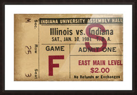 1981 Indiana vs. Illinois Basketball Ticket Art Picture Frame print