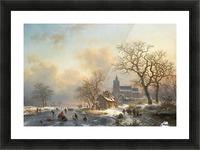 Een winterlandschap met schaatsers op een bevroren rivier Picture Frame print