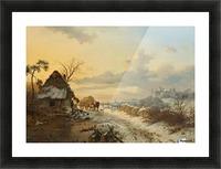 Winterlandschap met paarden en karren Picture Frame print