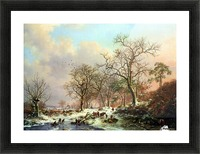 Winter landscape with figures near lake Picture Frame print