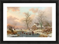 Winter landscape with figures on the frozen lake Picture Frame print
