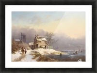 Winter landscape with figures near lake and church in background Picture Frame print